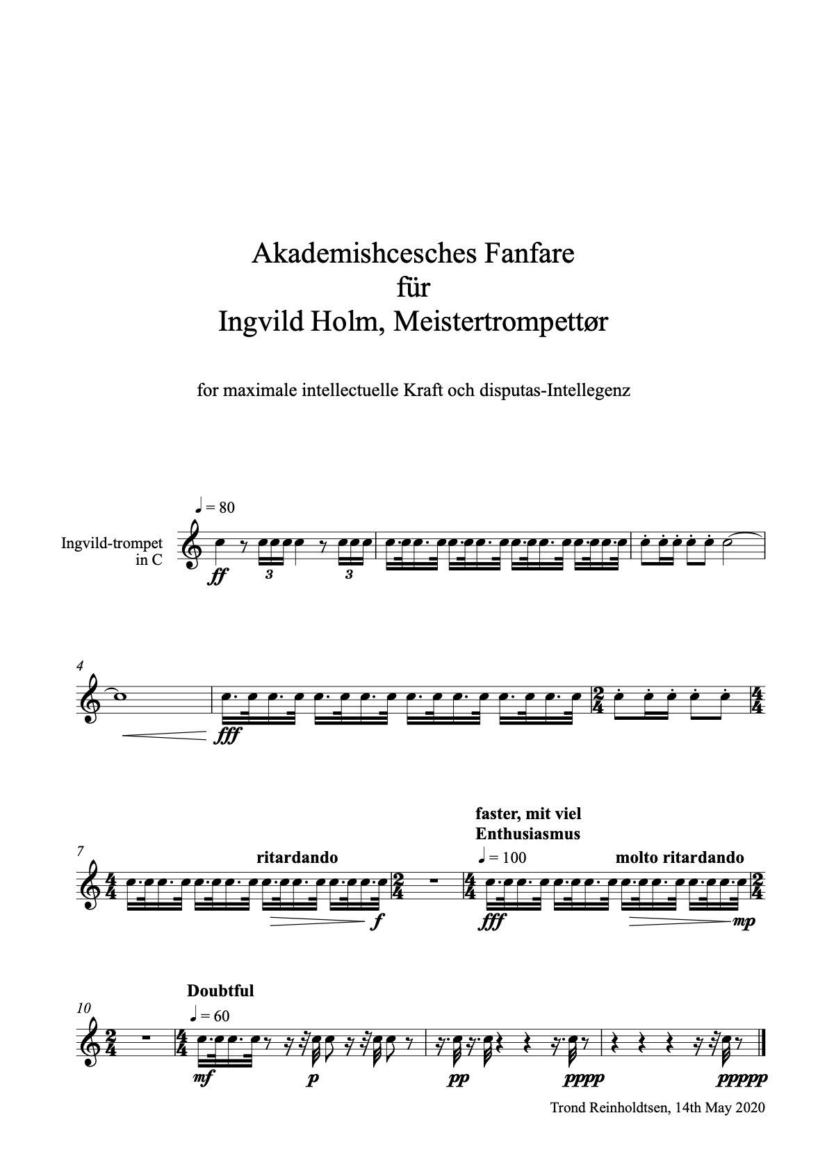 Akademishcesches Fanfare für Ingvild Holm Meistertrompettør